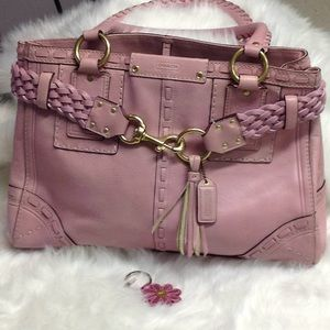Coach Hampton pink pebbled leather satchel.